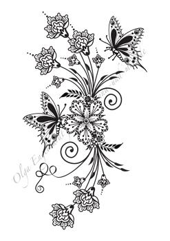 mod le de dessin au henn ou mehndi no 23 bouquet de fleurs avec des papillons. Black Bedroom Furniture Sets. Home Design Ideas
