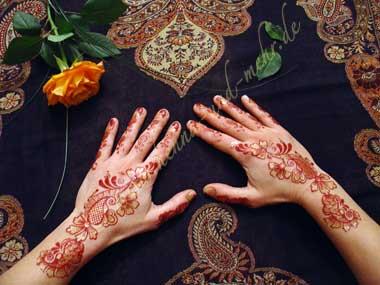 Page de commande pour pochoirs autocollant imitant la tatouage au henn en style bollywood - Dessin de henne pour les mains ...