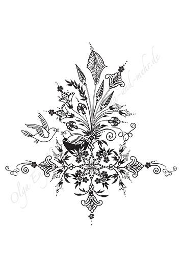 Mehndi oder Henna Designs, Vorlagen für die Körperbemalung mit Henna ...